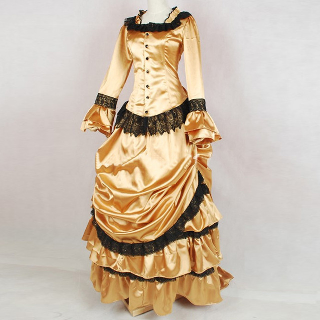 18th Century Retro Gothic Victorian Bustle Masquerade Party Dress Gold  Black Lace Ruffles Southern Belle Ball Gowns Customized d34b499f7149