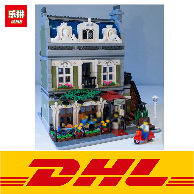 Lepin 15010 Creator Expert City Street Parisian Restaurant Model Building Kits anime figures Blocks Toy Compatible with10243 new lepin 15010 expert city street parisian restaurant model building kits blocks funny children toys compatible with 10243 gift
