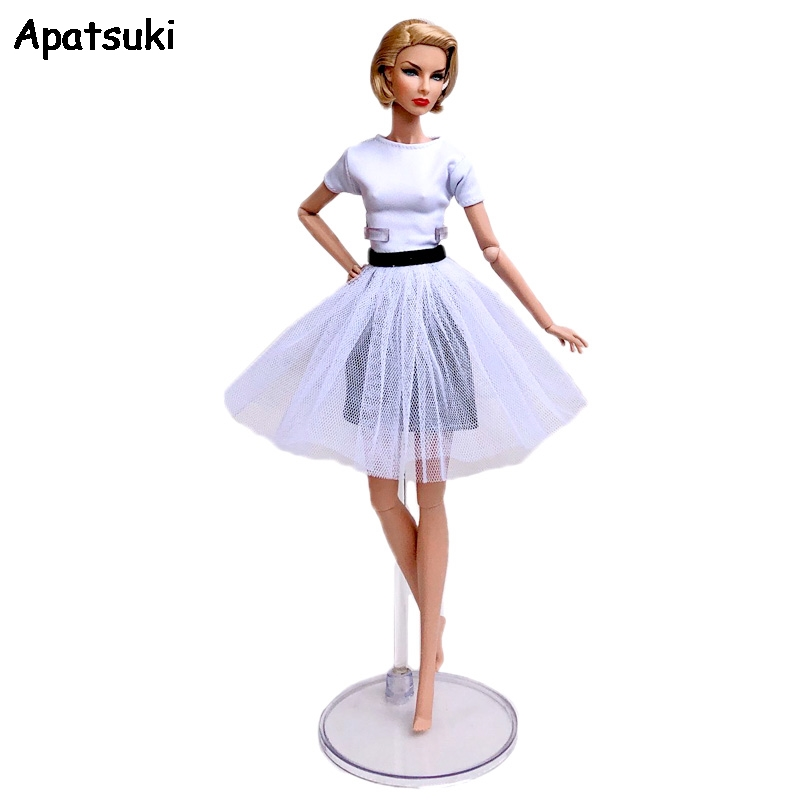 Fashion Doll Clothes For Barbie Doll Outfits Party Gown White Top Shirt & Denim Jeans Skirt & Tutu Skirt 1/6 Doll Accessories