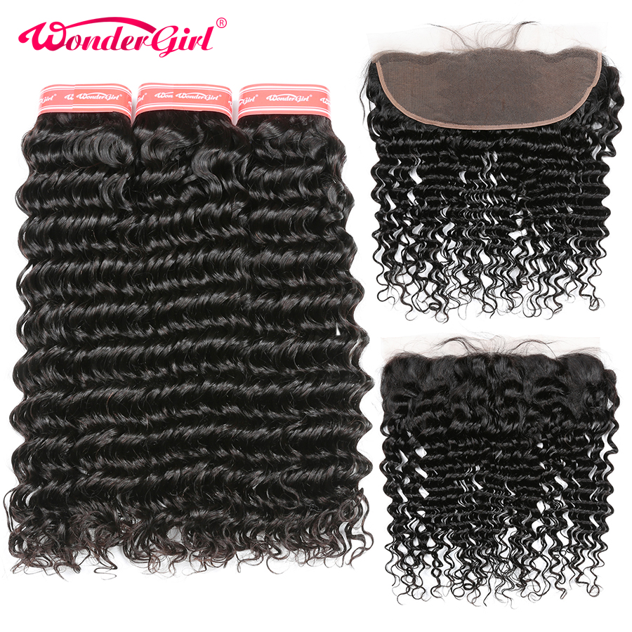 Malaysian Deep Wave Bundles With Frontal 13x4 Ear To Ear Lace Frontal Closure With 3 Bundles