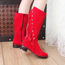 2016 Winter Boots Botas Mujer Big Size 33-50 New Round Toe Buckle Boots For Women Casual Fashion Warm Winter Shoes 920