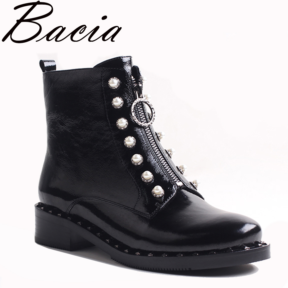 Bacia Women's Boots Genuine Leather Ankle Boots Round toe StringBead Woman Casual Shoes r Autumn Winter Short Plush Boots VXA031 r landes ojibwa woman