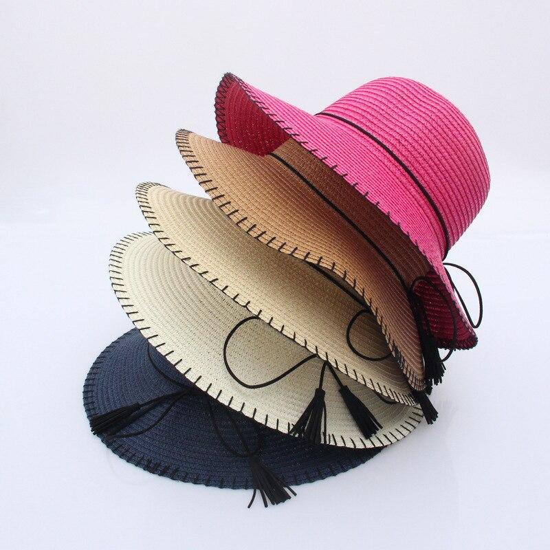 32d0e90d Γυναίκες ' s καπέλα Woman Sun panama visor Hat women You Dome Sun Hat Suture  The Sun ladies Straw hats boater Hat chapeu de praia feminino chapeus