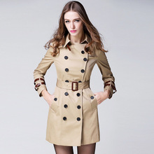 2019 BURDULLY Womens Coats High-end Woman Classic Double Breasted Trench Coat Waterproof Raincoat Business Outerwear