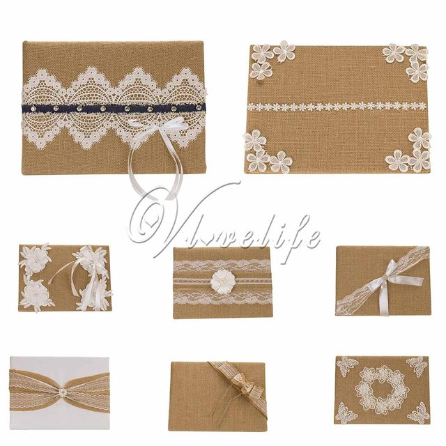 10 Styles Vintage Burlap Wedding Guest Book Register Book with Lace ...
