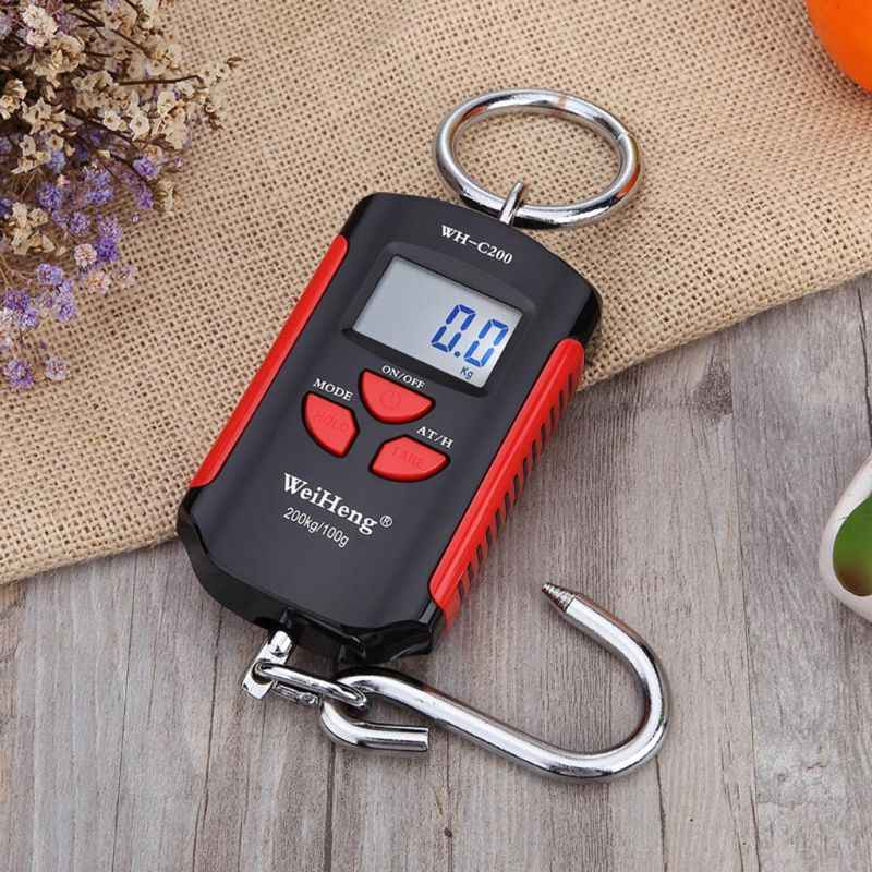 200kg 100g Mini Heavy Duty Electronic Digital Stainless Steel Hook Scale Fish Hanging Crane Scale LCD Loop Weight Balance