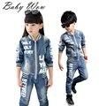 Ropa de moda para niños traje de vaquero niños chicos chicas deportes gorra de béisbol de mezclilla ropa Unisex carta Denim chaqueta + Pants tyh-20333