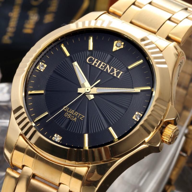 Prix pour Chenxi complet montre en or Mens montres Top marque de luxe étanche Quartz - montre acier montres pour hommes relojes hombre 2016