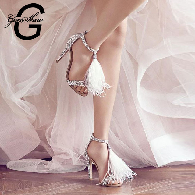 GENSHUO 2018 Women Fashion Real Fur High Heel Sandals Women Shoes Fluffy Feather Pendant Shoes Sexy Upper Crystal Bling Sandals