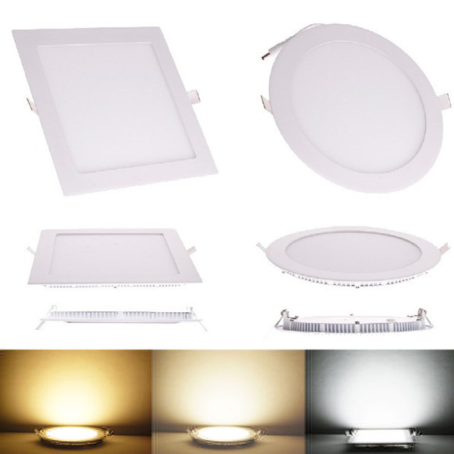 Ultra Thin Design 25W LED Ceiling Recessed Grid Downlight / Round Or Square Panel Light 225mm, 1pc/lot Free Shipping