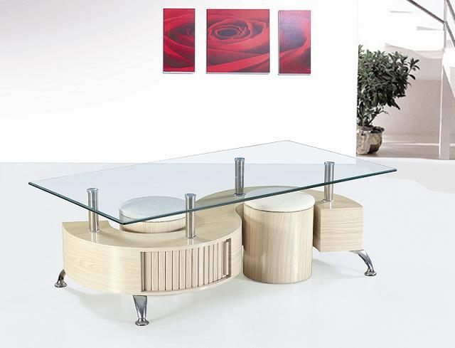 MDF S Shape Base Modern Design Glass Center Coffee Table With Stools,  Chinese Tea Table