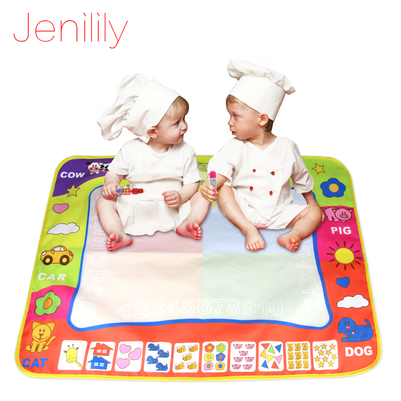 Jenilily Big Water Painting Mat Soft Drawing Carpet Doodle For 2 Babies With 2 Magic Pen Kids Toys For Children