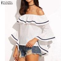 Elegant Women Blouses 2016 Summer Sexy Butterfly Sleeve Slash Neck Off Shoulder Shirts Casual Ruffles Blusas