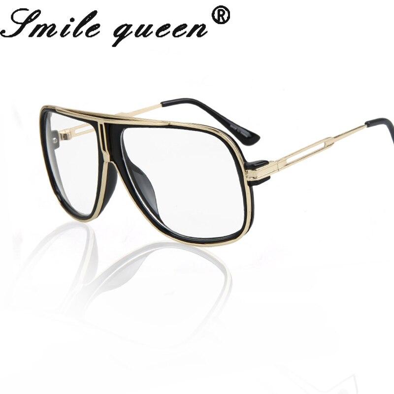 2016 Glasses Men Vintage Mirror Metal Big Square Glasses Frame Brand Designer Steampunk Nerd Glasses Lentes Opticos Mujer