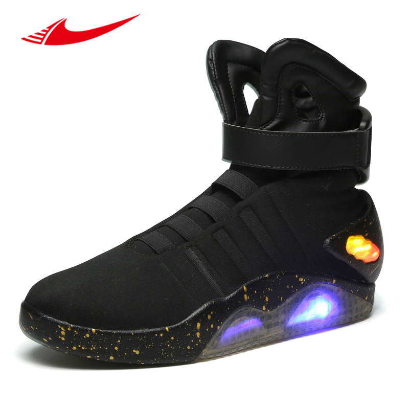 2017 Back To The Future glowing sneakers Soldier Shoes Brand boots Limited Edition Led Luminous Light Up Men Skateboarding Shoes glowing sneakers usb charging shoes lights up colorful led kids luminous sneakers glowing sneakers black led shoes for boys