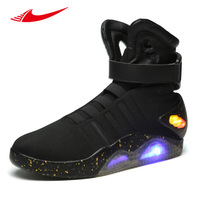 2017 Back To The Future Glowing Snekers Soldier Shoes Brand Boots Limited Edition Led Luminous Light