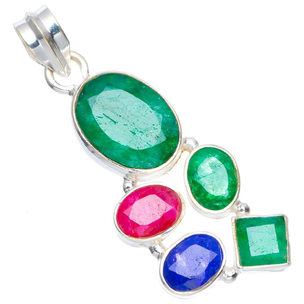 Natural Emerald,Cherry Ruby and Sapphire Handmade Unique 925 Sterling Silver Pendant 1.75 A0108 цена