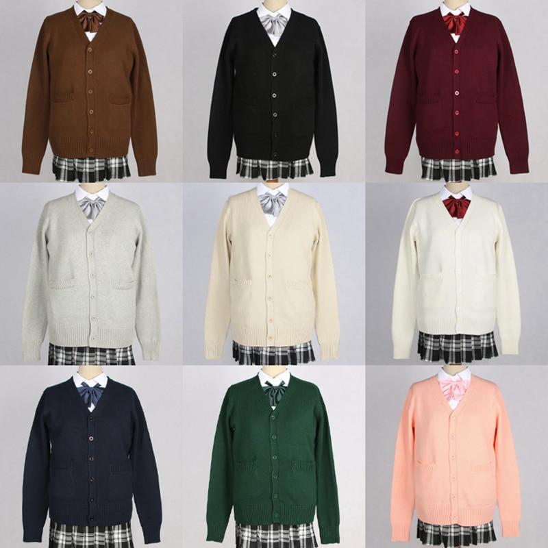 8b315a85708 US $18.18 29% OFF Japanese Kawaii JK Schoolgirl Uniforms Long Sleeve V neck  Cardigan Sweater Cosplay Soft Super Cute Women Sweaters Coat-in Cardigans  ...