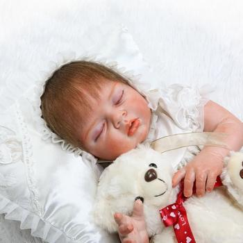 """High-end NPK Boutique reborn dolls 22"""" half silicone body real reborn baby dolls for girls toys gift rooted eyelash mohair"""