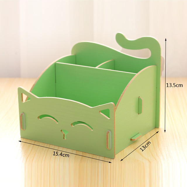 New Candy Colors Cute Cat Office Wood Storage Box Desk Debris School Students Stationery Holders