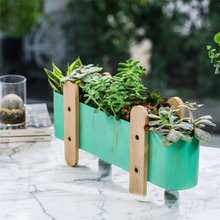 Creative 4 Legs Metal Flower Pot Garden Decoration Succulent Plant Planter Green Wooden Container Iron with Hole