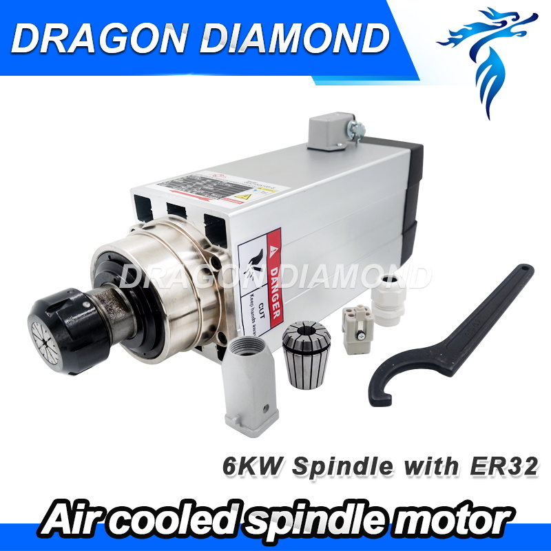 square shape Air cooling 6kw Spindle Motor 380V 18000rpm with ER32 collet for CNC Router Machine High Speed