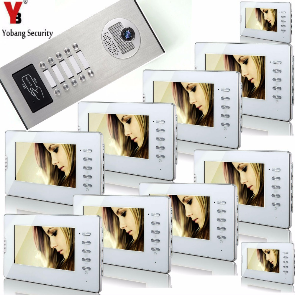YobangSecurity Home Video Intercom 7 Inch Video Door Phone Doorbell Door Chime RFID Access Control System For 10 Unit Apartment