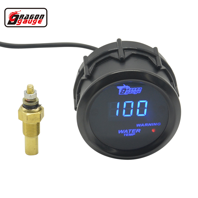 Dragon gauge 52mm Black Shell Blue Digital LED backLight Car Moter Water temperature gauge Water temp Meter With Sensor sepp motorcycle water temperature meter digital thermometer temp gauge with color screen auto sensor for all cars