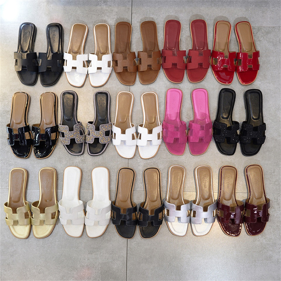 2018Summer fashion H women slippers ladies luxury designer sandals real cowhide shoes flat shoes slippers women new leather fashion women s cool slippers head layer cowhide women s slippers