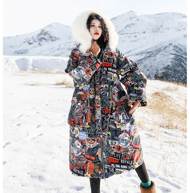 Jessica's Store Women Personality Print Casual Loose Hoolded Detachable Real Raccoon Hair Thick Warm Long White Duck Down Jacket