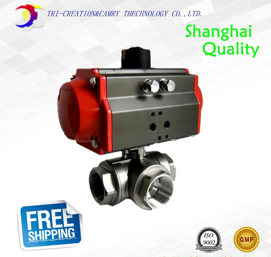 2 DN50 female stainless steel ball valve,3 way 304 screwed/thread pneumatic ball valve_double acting AT T port ball valve