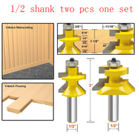 2pc 1 2 Shank V Groove Matched Tongue Router Bit Set W Premium Ball Bearings Woodworking