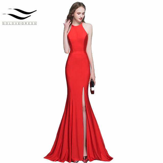 New Style Sexy Halter Neckline Womens Mermaid Red Green White Balck Mermaid Prom  Dresses Long Formal 763846ed0a23
