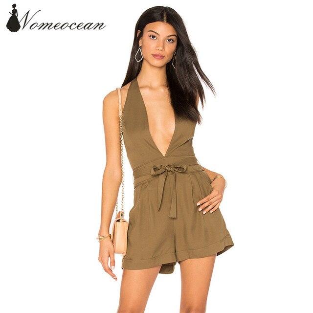 2d869e9d8e7 Military Style Deep V-neck Playsuits Belted Waist Zipper Backless Halter  Neck Rompers Women Jumpsuits Women Shorts M17041830