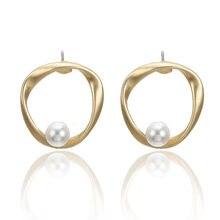Doreen Box Matt Gold Circle Ring Imitation Pearl Series Ear Post Stud Earrings Fashion Jewelry For Women Lovers Gifts 1Pair