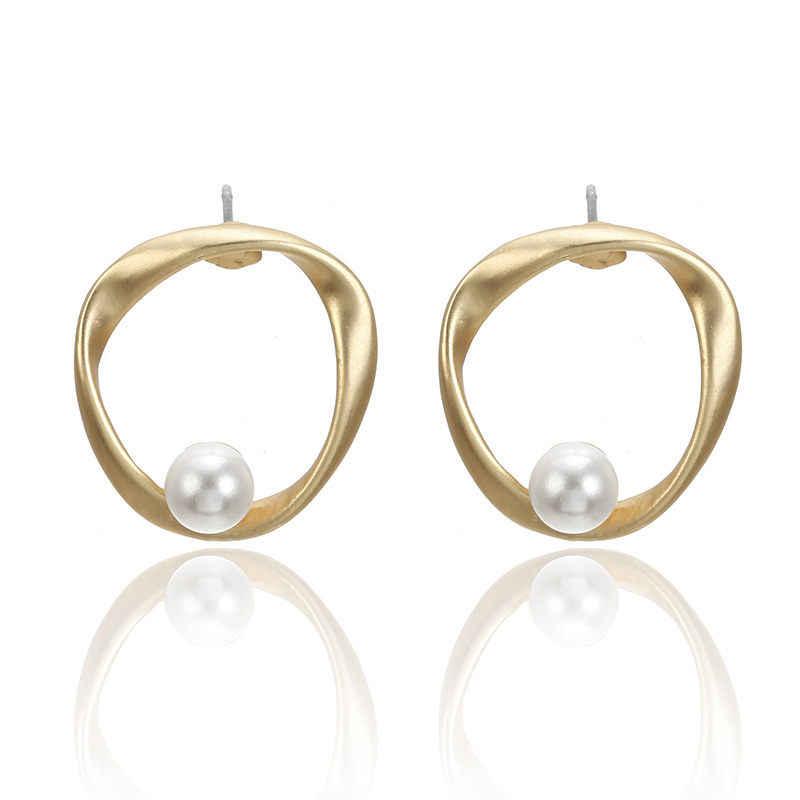 Doreen Box, матовое Золотое кольцо, кольцо, имитация жемчуга, серия, серьги-гвоздики, модные украшения для женщин, подарки для любимых, 1 пара