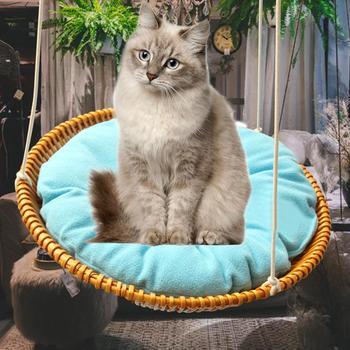 Pet Hanging Beds Cat Sunny Seat Cat Hammock Comfortable Cat Pet  Removable Cosy Non-Toxic Cushion Straw Bed