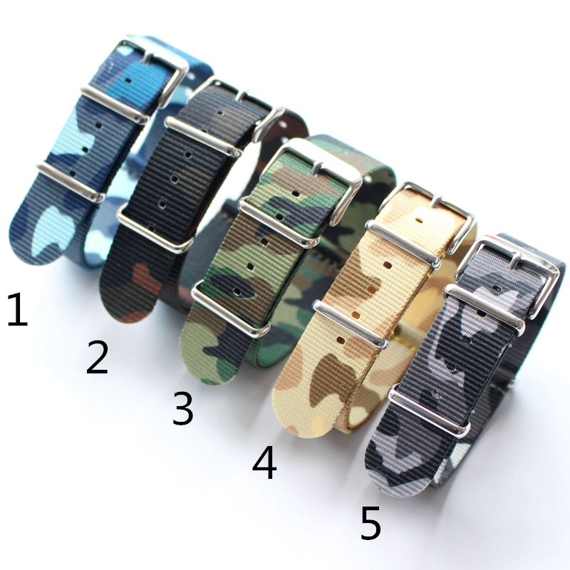 TJP 18mm 20mm 22mm 24mm New Fashion Nato Army Military Camouflage Nylon Wrist Watch Bands Strap Bracelet For DW Casual Watches