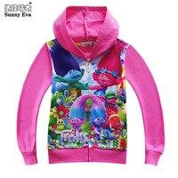 Güneşli eva çocuk hoodies bebek kız çocuk ceketleri hoody için 2017 çocuk giysileri moana sonbahar karakter baskı kapüşonlu ceket