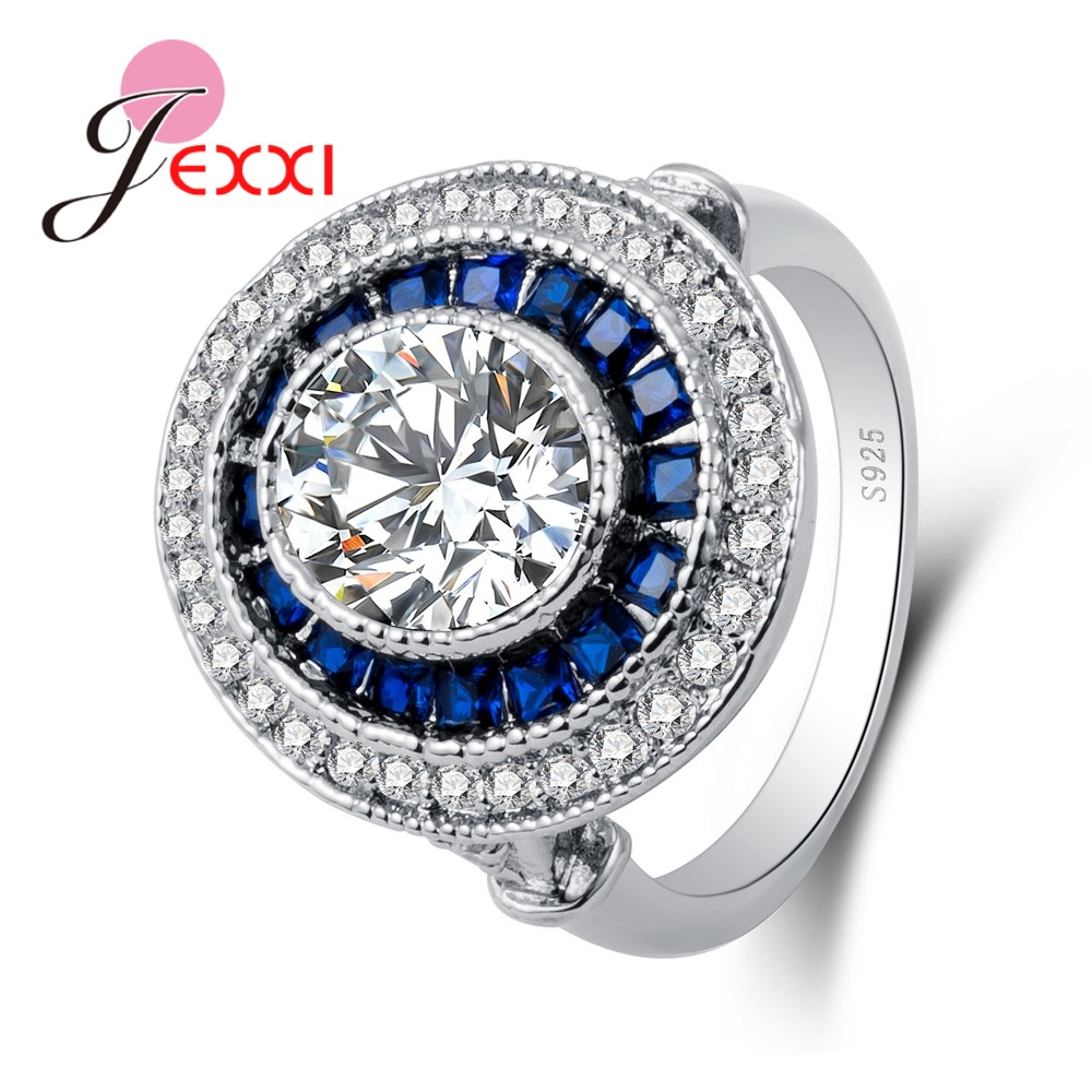 Latest Big Round Shinning Cubic Zirconia Around Two Kinds Rhinestone 925 Sterling Silver Beautiful Fashion Wedding Rings