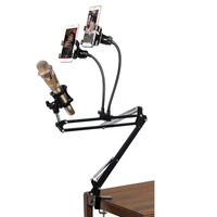 Phone Photography Table Adjustable Shockproof Microphone Support Suspension Arm Bracket Stand with Phone Tube Arm Holder Clip