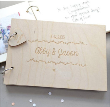 Niestandardowe ślub księga gości grawerowane drewniane księgi gości ślub znak książka z imieniem i datą spersonalizowany prezent na ślub tanie i dobre opinie litera