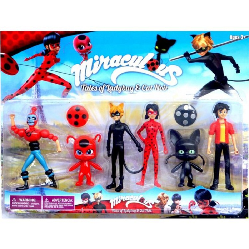 Miraculous Ladybug 3.5-5.5Inch PVC Lady bug  Figures Toys Kids Collection Doll Gift 6 Pcs / Set 12pcs set children kids toys gift mini figures toys little pet animal cat dog lps action figures