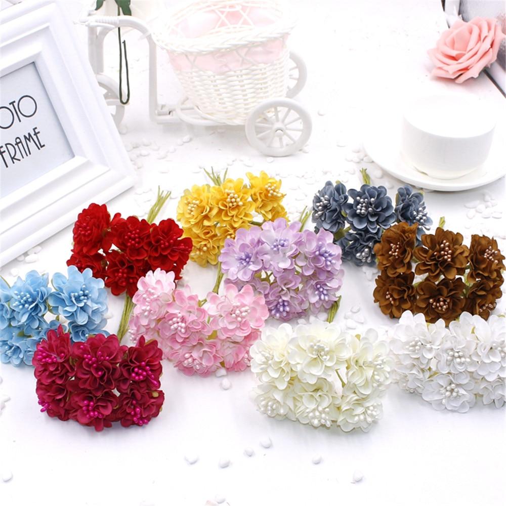 6 pcs lot cheap mini silk daisy artificial rose flowers bouquet diy wedding decoration paper