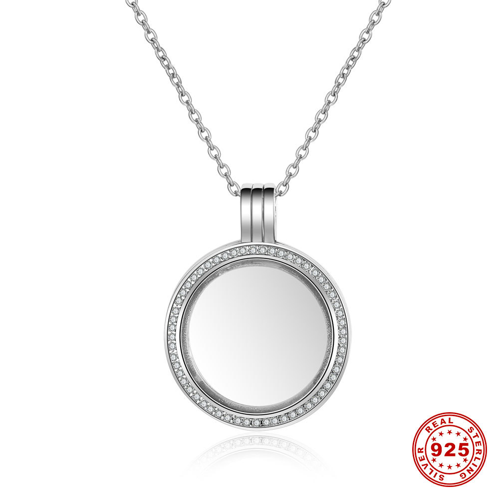 Genuine 925 Sterling Silver Medium Petite Memories Round Floating Locket Necklaces & Pendants Jewelry