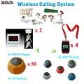 Koqi eletrônico 2 pcs painel de 4 pcs de relógios 50 botões de chamada restaurante sistema de chamada de campainha impermeável