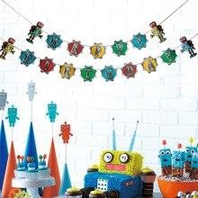 Retro Robot Birthday Party Transformer Gears Happy Banner Baby Boy Kids Supplies Robolox