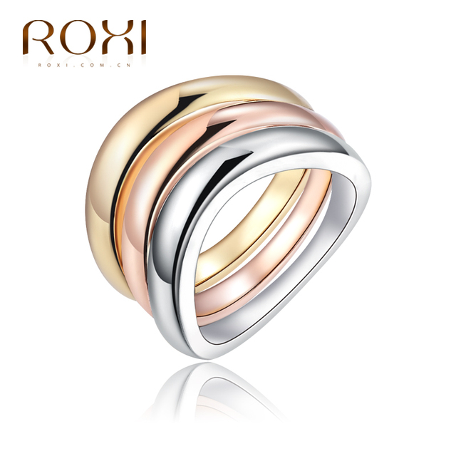 ROXI Engagement Wedding Ring Set for women Rose Gold Color bague acier inoxydabl