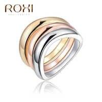 ROXI bague de fiançailles mariage ensemble pour femmes couleur or Rose bague acier inoxydable pour femme 2017 mode trois anneaux