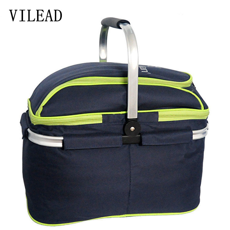 VILEAD 45*28*35cm Outdoor 25L Camping Tourism Portable Folding Picnic Basket with Cover Hand Basket Insulation Picnic Bag Eco outdoor camping hiking picnic bags portable folding large picnic bag food storage basket handbags lunch box keep warm and cold